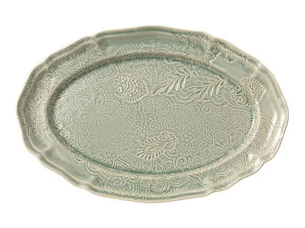Sthål - ovalt serveringsfat, Antique