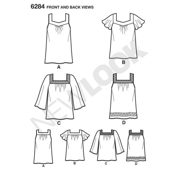 New Look 6284 Bluse med varianter i hals og armer