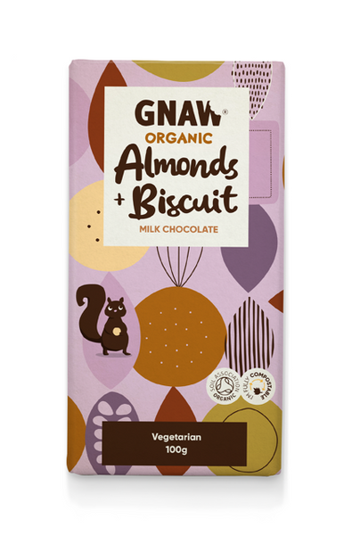 Gnaw organic milk chocolate with almonds & biscuit